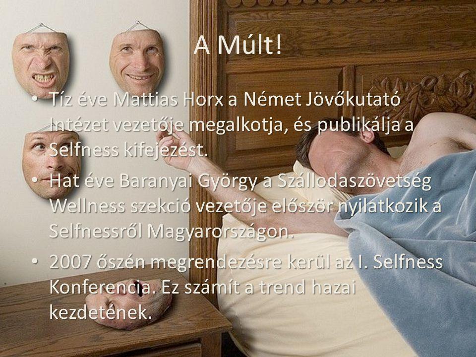 A Múlt! Tíz éve Mattias Horx a Német Jövőkutató Intézet vezetője megalkotja, és publikálja a Selfness kifejezést. Tíz éve Mattias Horx a Német Jövőkut