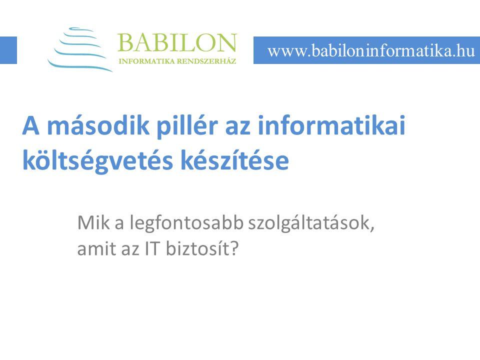 A második pillér az informatikai költségvetés készítése Mik a legfontosabb szolgáltatások, amit az IT biztosít.