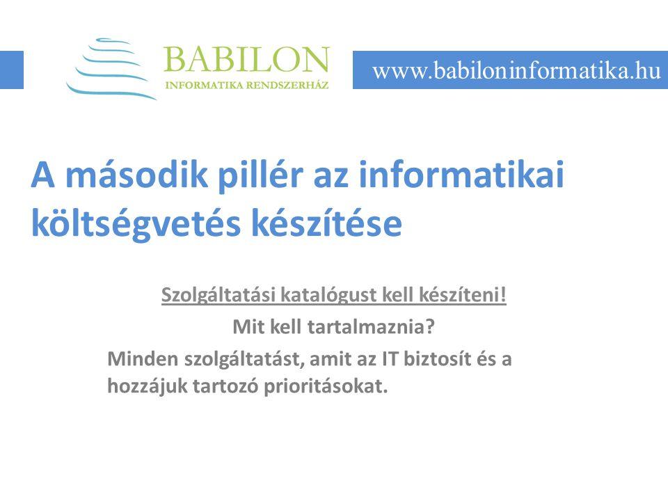 A második pillér az informatikai költségvetés készítése Szolgáltatási katalógust kell készíteni.
