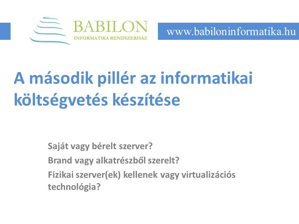 A második pillér az informatikai költségvetés készítése Saját vagy bérelt szerver.