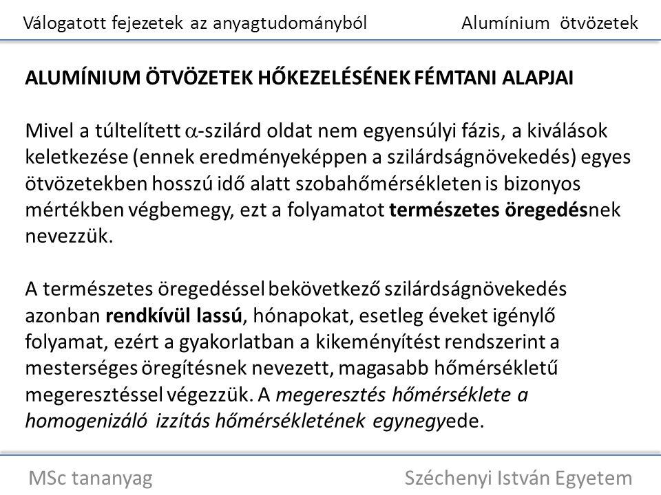 Válogatott fejezetek az anyagtudományból Alumínium ötvözetek MSc tananyag Széchenyi István Egyetem ALUMÍNIUM ÖTVÖZETEK HŐKEZELÉSÉNEK FÉMTANI ALAPJAI M
