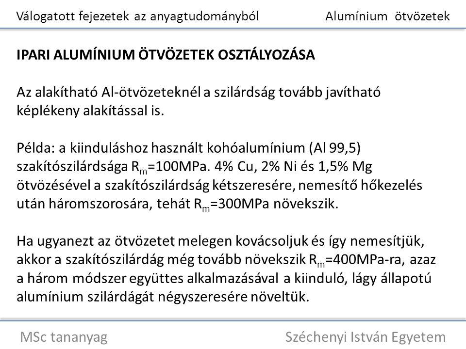 Válogatott fejezetek az anyagtudományból Alumínium ötvözetek MSc tananyag Széchenyi István Egyetem IPARI ALUMÍNIUM ÖTVÖZETEK OSZTÁLYOZÁSA Az alakíthat