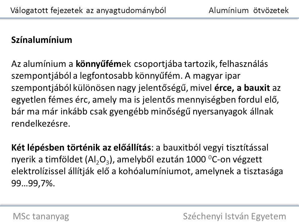 Válogatott fejezetek az anyagtudományból Alumínium ötvözetek MSc tananyag Széchenyi István Egyetem Színalumínium Az iparban felhasznált legtisztább alumínium az ún.