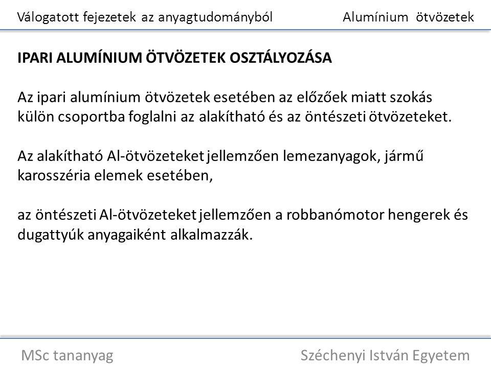 Válogatott fejezetek az anyagtudományból Alumínium ötvözetek MSc tananyag Széchenyi István Egyetem IPARI ALUMÍNIUM ÖTVÖZETEK OSZTÁLYOZÁSA Az ipari alu