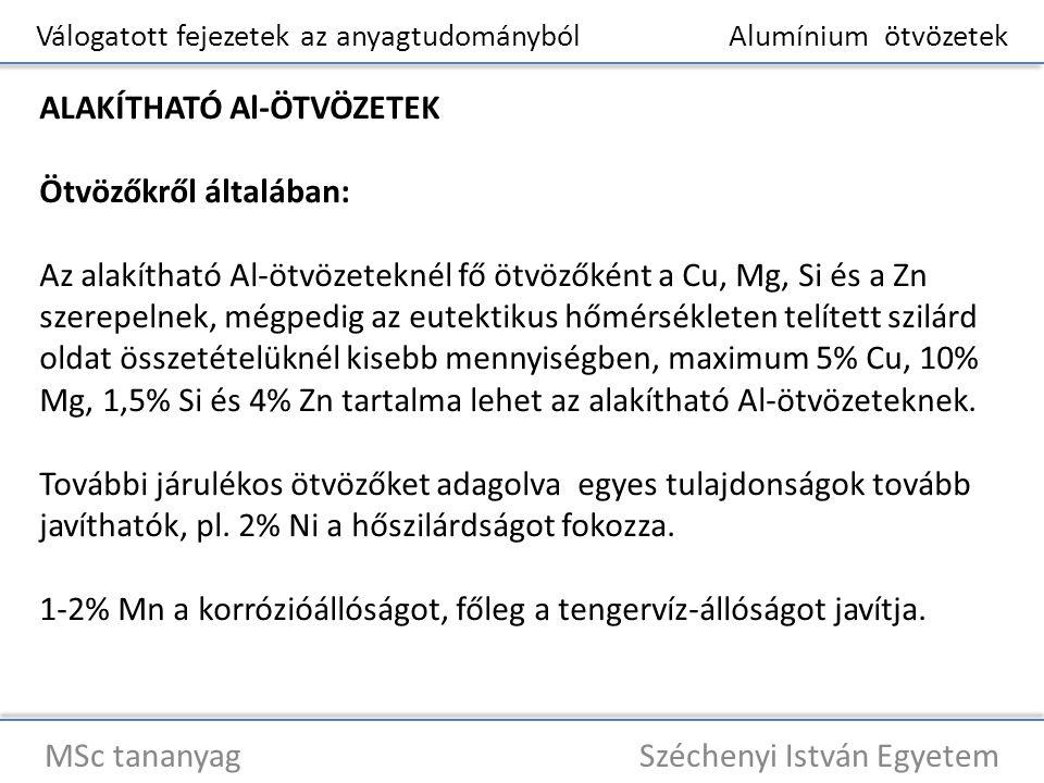 Válogatott fejezetek az anyagtudományból Alumínium ötvözetek MSc tananyag Széchenyi István Egyetem ALAKÍTHATÓ Al-ÖTVÖZETEK Ötvözőkről általában: Az al