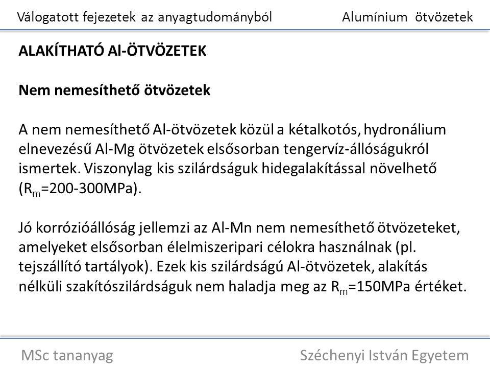 Válogatott fejezetek az anyagtudományból Alumínium ötvözetek MSc tananyag Széchenyi István Egyetem ALAKÍTHATÓ Al-ÖTVÖZETEK Nem nemesíthető ötvözetek A