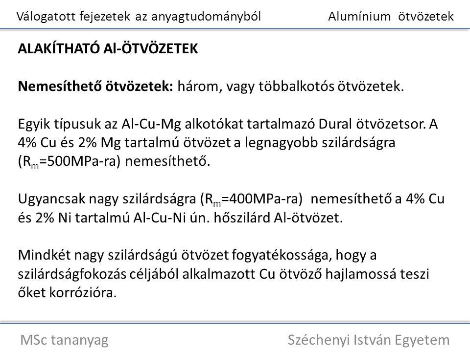 Válogatott fejezetek az anyagtudományból Alumínium ötvözetek MSc tananyag Széchenyi István Egyetem ALAKÍTHATÓ Al-ÖTVÖZETEK Nemesíthető ötvözetek: háro