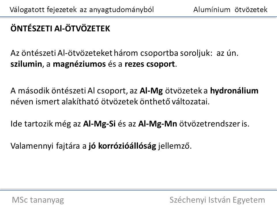 Válogatott fejezetek az anyagtudományból Alumínium ötvözetek MSc tananyag Széchenyi István Egyetem ÖNTÉSZETI Al-ÖTVÖZETEK Az öntészeti Al-ötvözeteket
