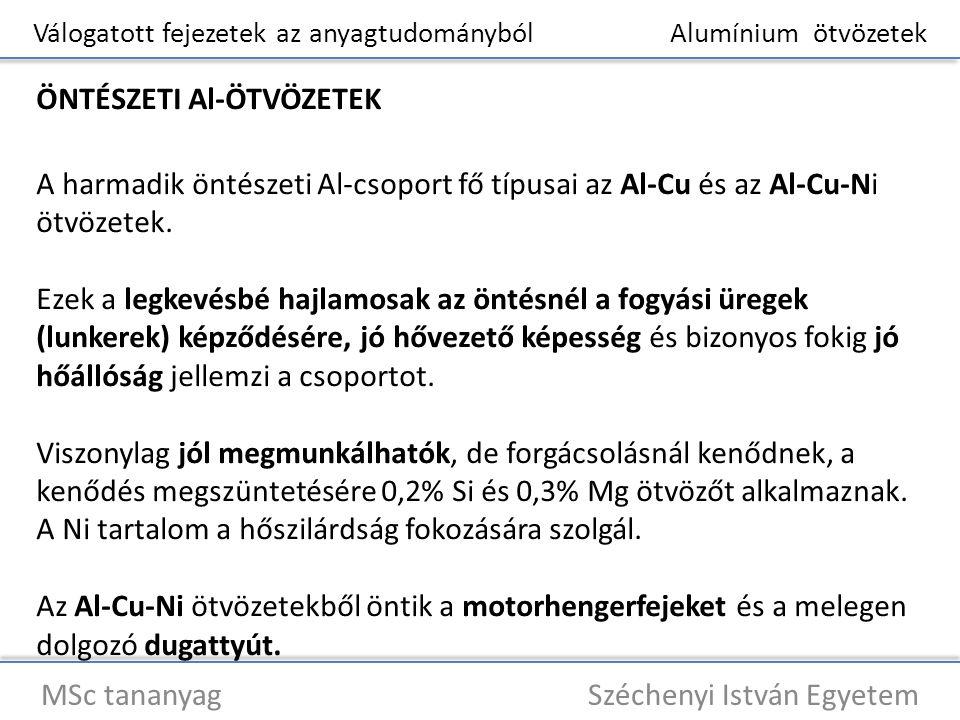 Válogatott fejezetek az anyagtudományból Alumínium ötvözetek MSc tananyag Széchenyi István Egyetem ÖNTÉSZETI Al-ÖTVÖZETEK A harmadik öntészeti Al-csop