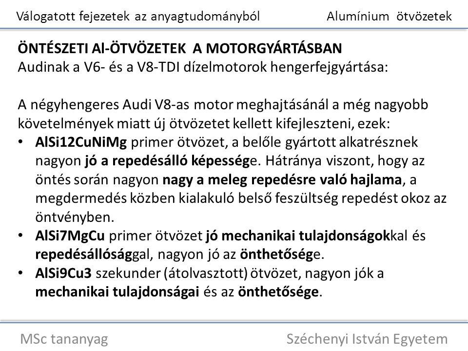 Válogatott fejezetek az anyagtudományból Alumínium ötvözetek MSc tananyag Széchenyi István Egyetem ÖNTÉSZETI Al-ÖTVÖZETEK A MOTORGYÁRTÁSBAN Audinak a