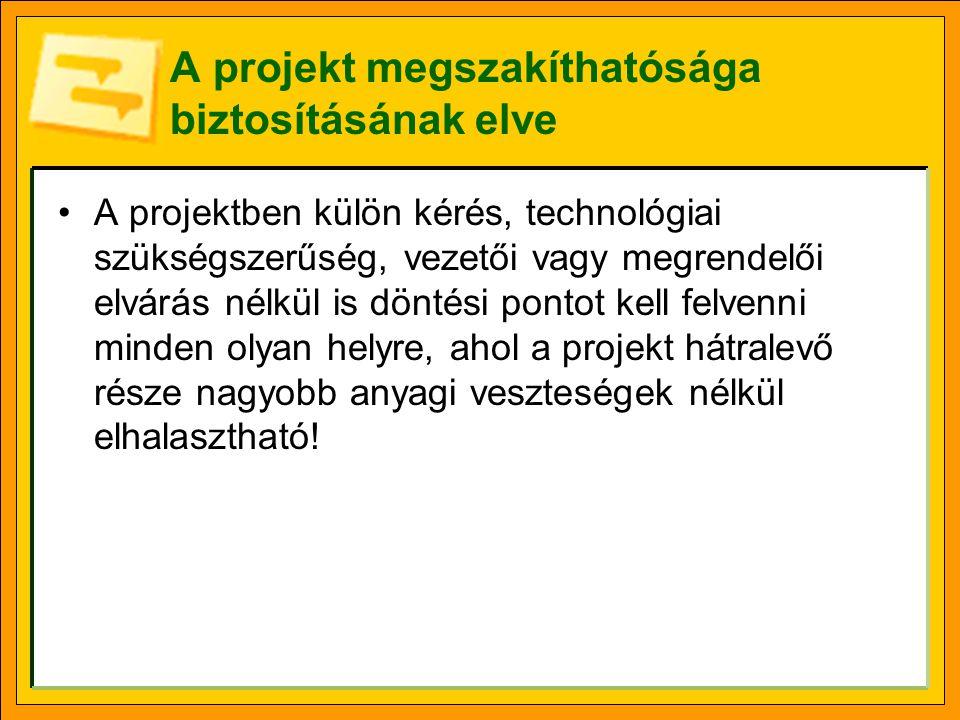 A projekt megszakíthatósága biztosításának elve A projektben külön kérés, technológiai szükségszerűség, vezetői vagy megrendelői elvárás nélkül is dön