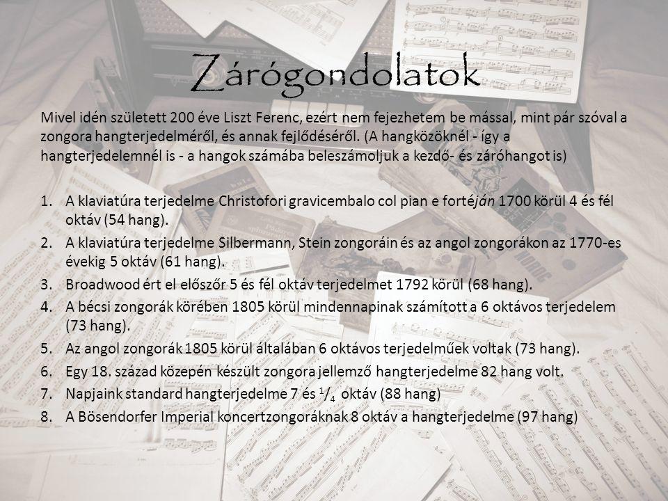Zárógondolatok Mivel idén született 200 éve Liszt Ferenc, ezért nem fejezhetem be mással, mint pár szóval a zongora hangterjedelméről, és annak fejlőd