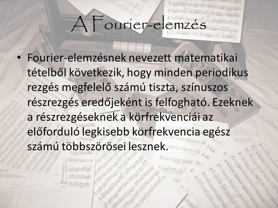 A Fourier-elemzés Fourier-elemzésnek nevezett matematikai tételből következik, hogy minden periodikus rezgés megfelelő számú tiszta, színuszos részrez
