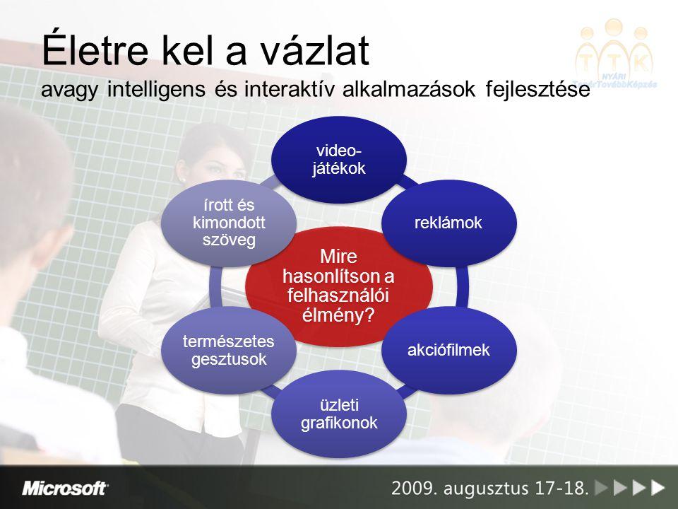 Életre kel a vázlat avagy intelligens és interaktív alkalmazások fejlesztése Mire hasonlítson a felhasználói élmény.