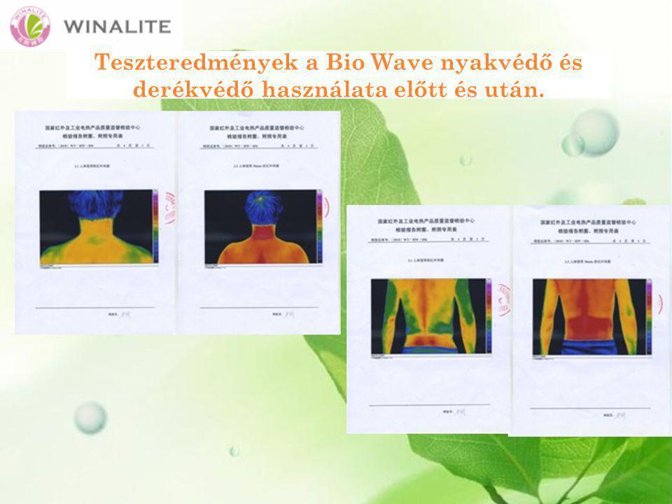 Teszteredmények a Bio Wave nyakvédő és derékvédő használata előtt és után.