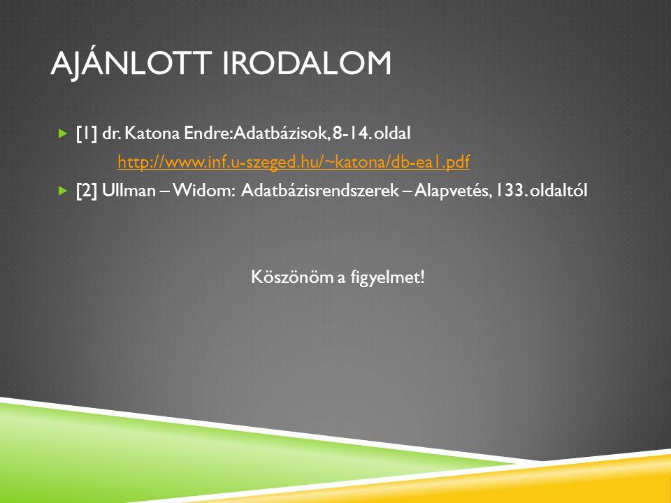 AJÁNLOTT IRODALOM  [1] dr. Katona Endre: Adatbázisok, 8-14. oldal http://www.inf.u-szeged.hu/~katona/db-ea1.pdf  [2] Ullman – Widom: Adatbázisrendsz