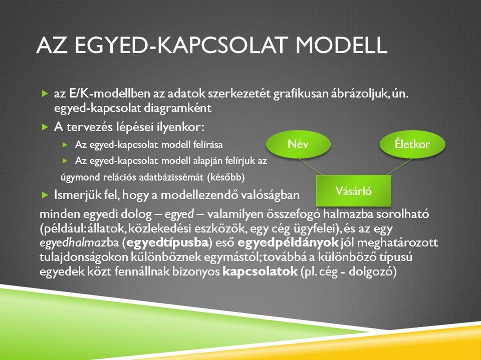 AZ EGYED-KAPCSOLAT MODELL  Tehát az egyed-kapcsolat modell nem más, mint az egyes egyedtípusok, az egyedtípusok tulajdonságai (attribútumai), és a fennálló kapcsolatok grafikus ábrázolása (röviden azonban csak egyed néven emlegetjük a típusokat) Egyed Tulajdonság 1 Tulajdonság 2