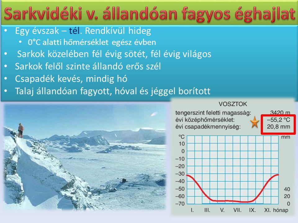Egy évszak – tél. Rendkívül hideg 0°C alatti hőmérséklet egész évben Sarkok közelében fél évig sötét, fél évig világos Sarkok felől szinte állandó erő