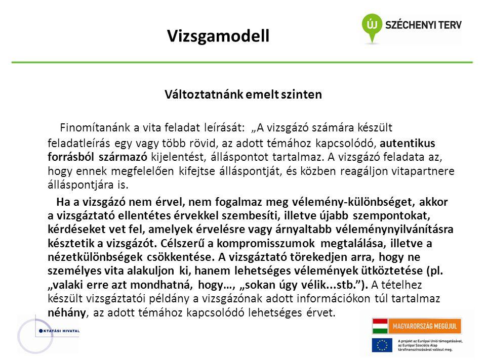 """Vizsgamodell Változtatnánk emelt szinten Finomítanánk a vita feladat leírását: """"A vizsgázó számára készült feladatleírás egy vagy több rövid, az adott témához kapcsolódó, autentikus forrásból származó kijelentést, álláspontot tartalmaz."""