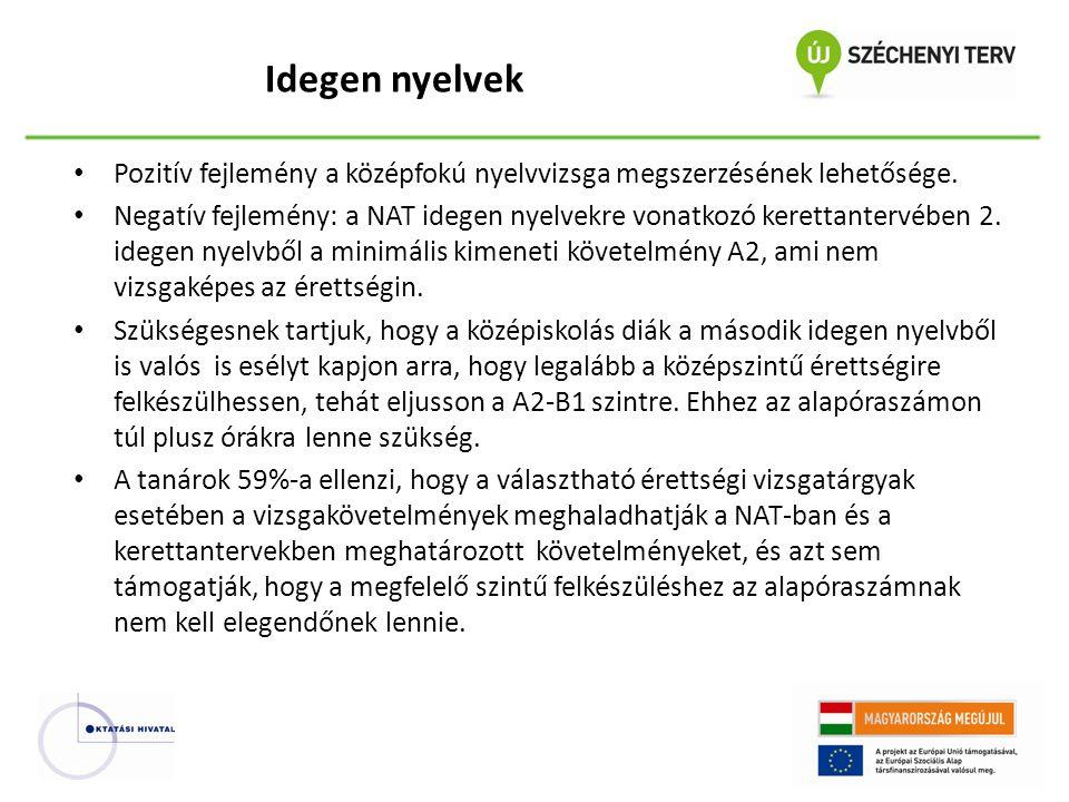 Pozitív fejlemény a középfokú nyelvvizsga megszerzésének lehetősége.