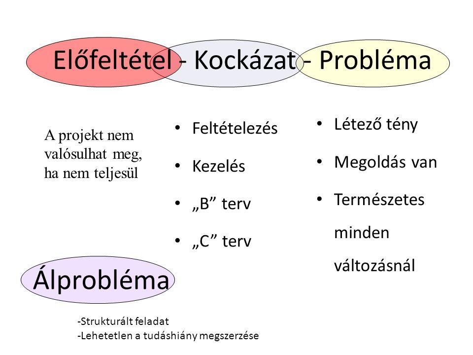 """Előfeltétel - Kockázat - Probléma Feltételezés Kezelés """"B"""" terv """"C"""" terv Létező tény Megoldás van Természetes minden változásnál A projekt nem valósul"""