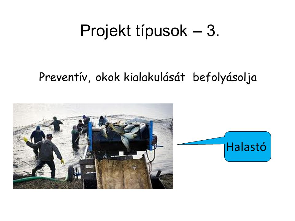Projekt típusok – 3. Halastó Preventív, okok kialakulását befolyásolja