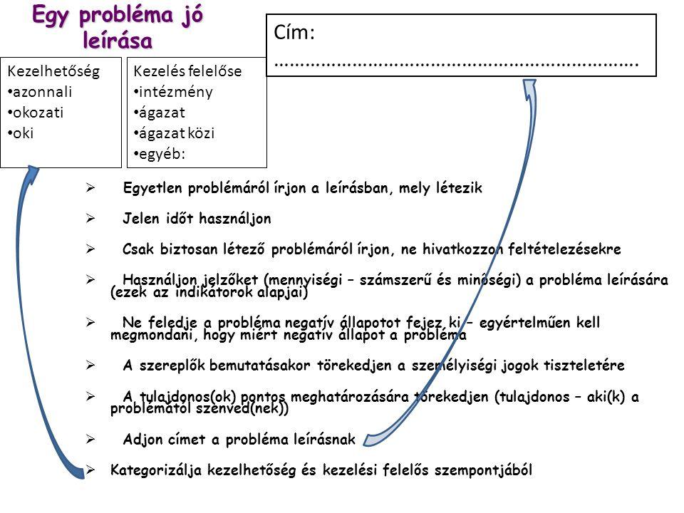Egy probléma jó leírása  Egyetlen problémáról írjon a leírásban, mely létezik  Jelen időt használjon  Csak biztosan létező problémáról írjon, ne hi