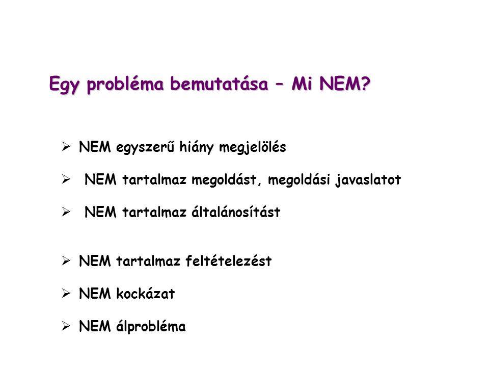 Egy probléma bemutatása – Mi NEM?  NEM egyszerű hiány megjelölés  NEM tartalmaz megoldást, megoldási javaslatot  NEM tartalmaz általánosítást  NEM