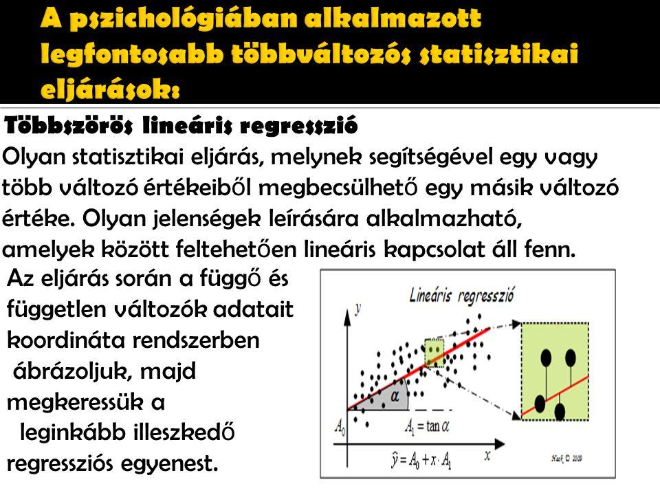 Többszörös lineáris regresszió Olyan statisztikai eljárás, melynek segítségével egy vagy több változó értékeib ő l megbecsülhet ő egy másik változó értéke.