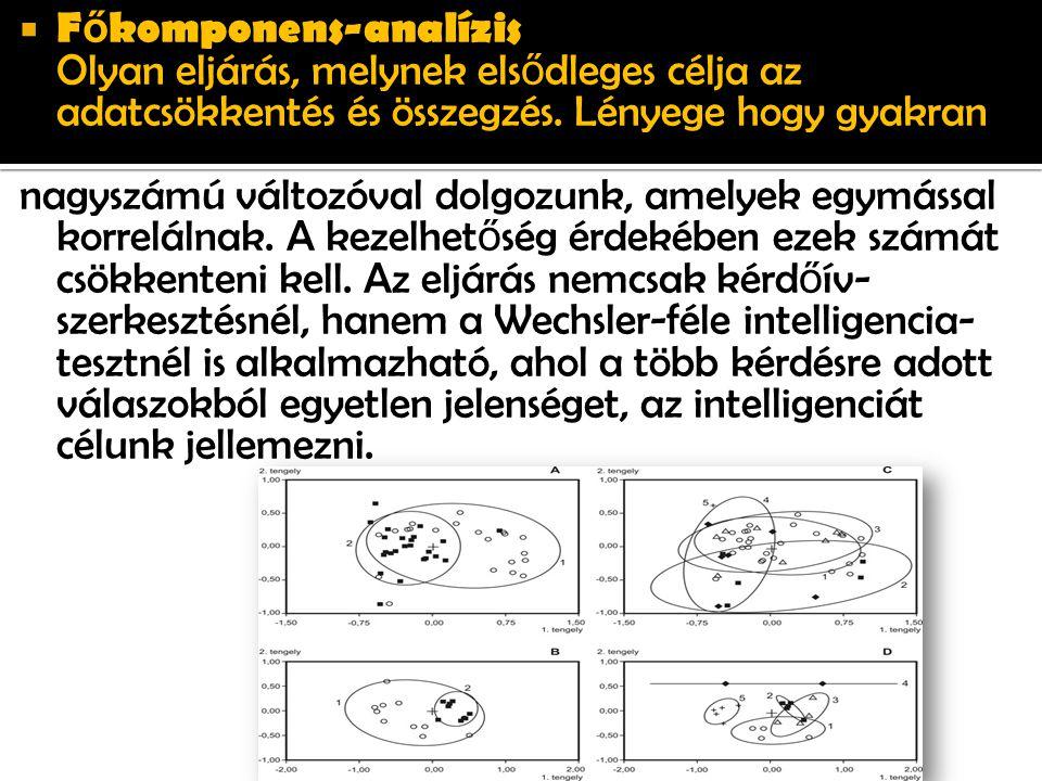  F ő komponens-analízis Olyan eljárás, melynek els ő dleges célja az adatcsökkentés és összegzés.