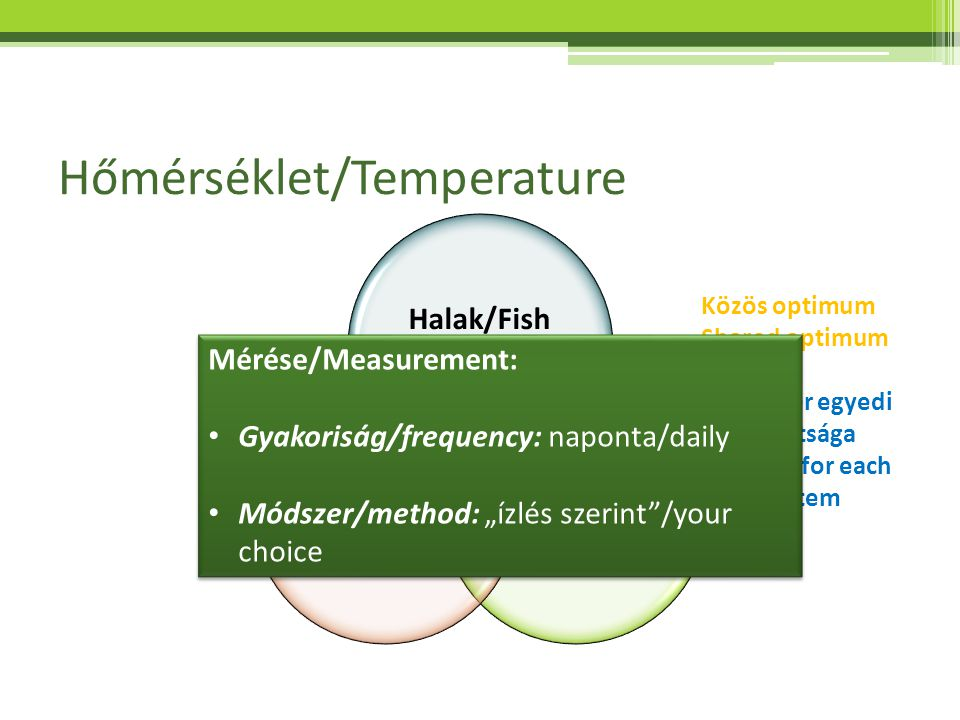 Hőmérséklet/Temperature Halak/Fish Növények/ Plants Baktériumok/ Bacteria Közös optimum Shared optimum Rendszer egyedi adottsága Specific for each sys
