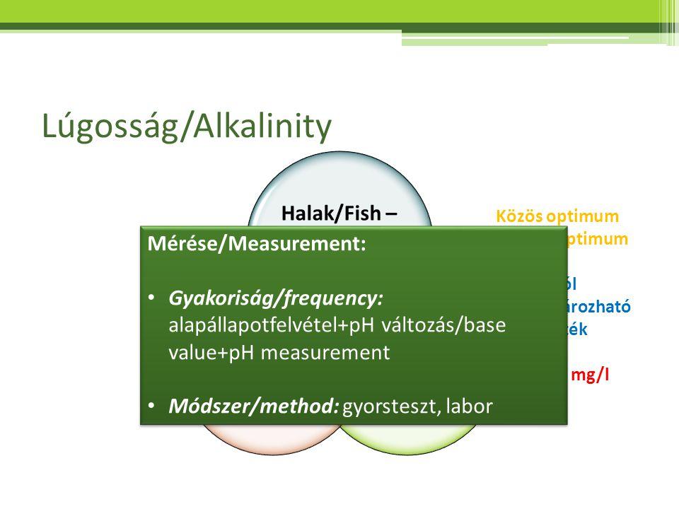 Lúgosság/Alkalinity Halak/Fish – <500 mg/l Növények/ Plants <80mg/l Baktériumok/ Bacteria > 50 mg/l Közös optimum Shared optimum Jól meghatározható ér