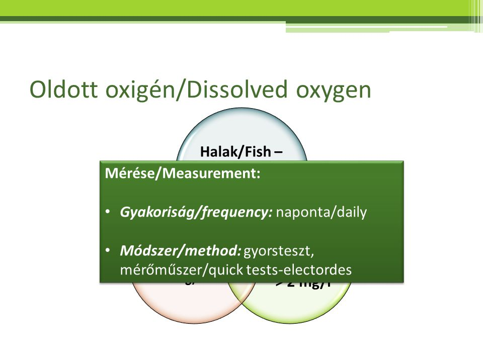 Oldott oxigén/Dissolved oxygen Halak/Fish – 2,0 – 6,0 mg/l Növények/ Plants > 2 mg/l Baktériumok/ Bacteria >2 mg/l Mérése/Measurement: Gyakoriság/freq