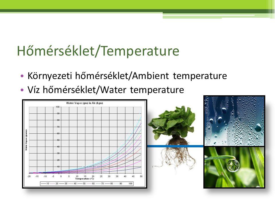 Oldott oxigén/Dissolved oxygen Halak/Fish – 2,0 – 6,0 mg/l Növények/ Plants > 2 mg/l Baktériumok/ Bacteria >2 mg/l Mérése/Measurement: Gyakoriság/frequency: naponta/daily Módszer/method: gyorsteszt, mérőműszer/quick tests-electordes Mérése/Measurement: Gyakoriság/frequency: naponta/daily Módszer/method: gyorsteszt, mérőműszer/quick tests-electordes