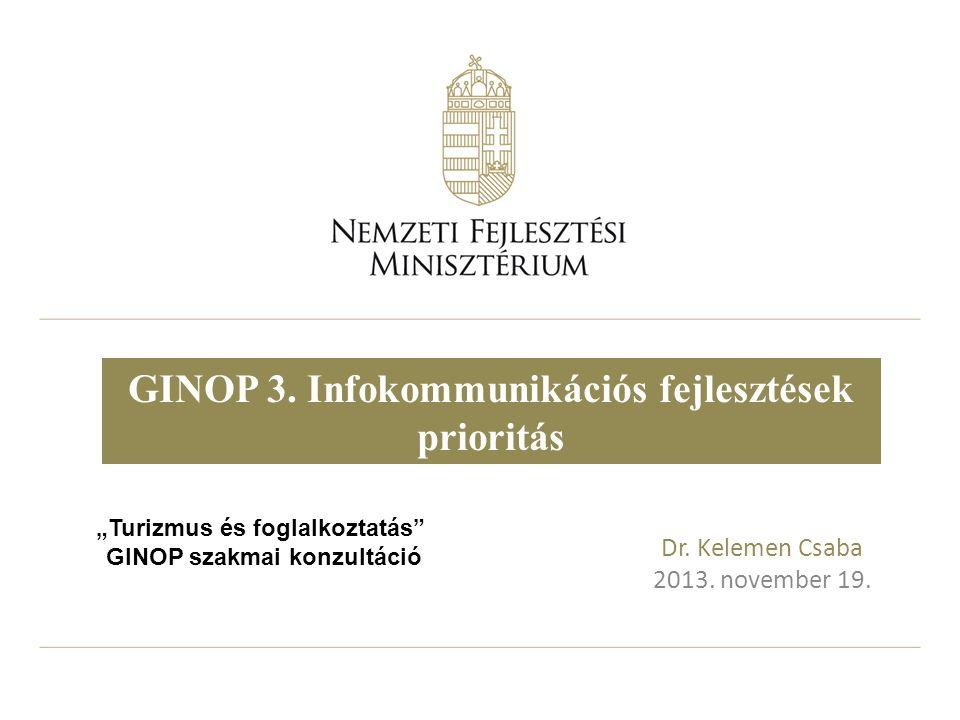 """Dr. Kelemen Csaba 2013. november 19. GINOP 3. Infokommunikációs fejlesztések prioritás """"Turizmus és foglalkoztatás"""" GINOP szakmai konzultáció"""