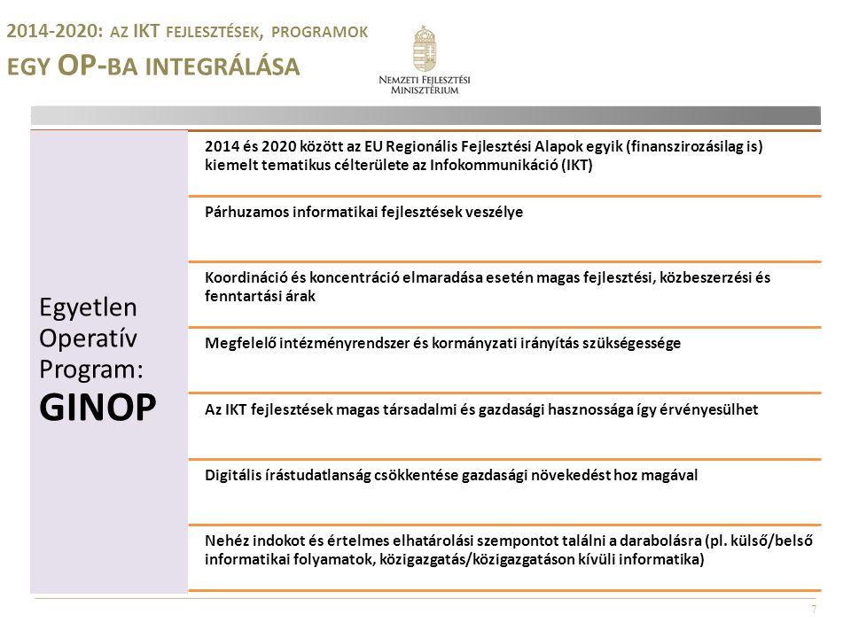 7 2014-2020: AZ IKT FEJLESZTÉSEK, PROGRAMOK EGY OP- BA INTEGRÁLÁSA Egyetlen Operatív Program: GINOP 2014 és 2020 között az EU Regionális Fejlesztési Alapok egyik (finanszirozásilag is) kiemelt tematikus célterülete az Infokommunikáció (IKT) Párhuzamos informatikai fejlesztések veszélye Koordináció és koncentráció elmaradása esetén magas fejlesztési, közbeszerzési és fenntartási árak Megfelelő intézményrendszer és kormányzati irányítás szükségessége Az IKT fejlesztések magas társadalmi és gazdasági hasznossága így érvényesülhet Digitális írástudatlanság csökkentése gazdasági növekedést hoz magával Nehéz indokot és értelmes elhatárolási szempontot találni a darabolásra (pl.