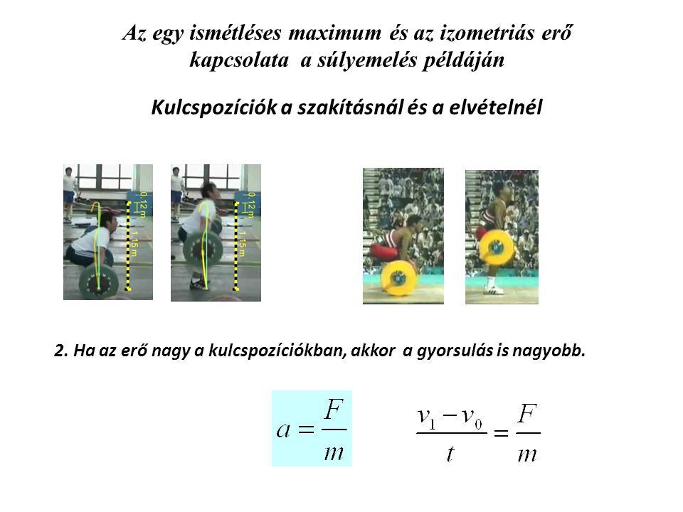 Az egy ismétléses maximum és az izometriás erő kapcsolata a súlyemelés példáján Kulcspozíciók a szakításnál és a elvételnél 2. Ha az erő nagy a kulcsp
