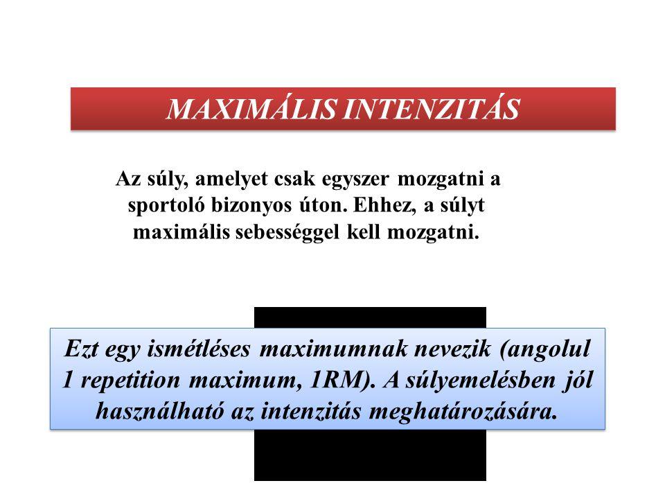 MAXIMÁLIS INTENZITÁS Amikor különböző nagyságú súlyokat használunk az erő fejlesztésére, akkor az intenzitás az adott súly lehető legnagyobb sebességgel történő mozgatását jelenti, sebességgel fejezzük ki.