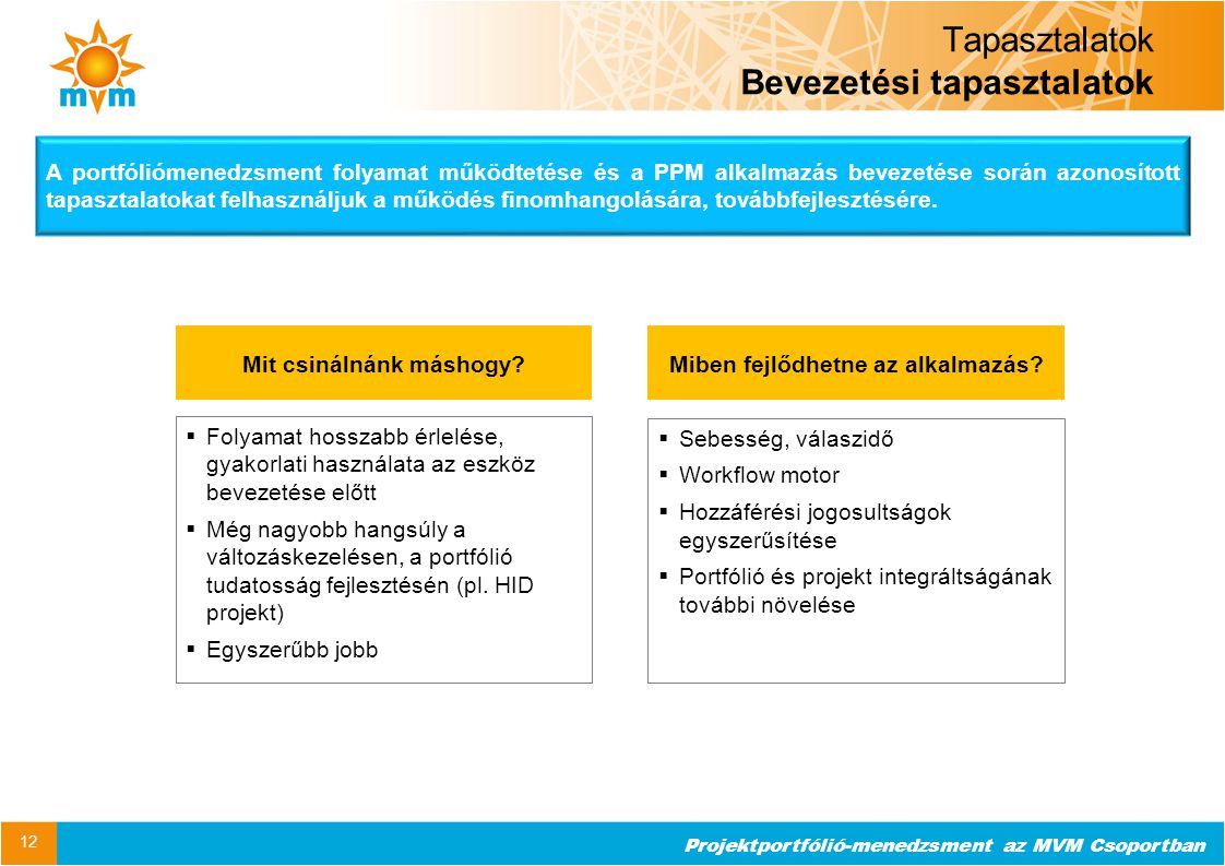 Projektportfólió-menedzsment az MVM Csoportban Tapasztalatok Bevezetési tapasztalatok 12  Folyamat hosszabb érlelése, gyakorlati használata az eszköz