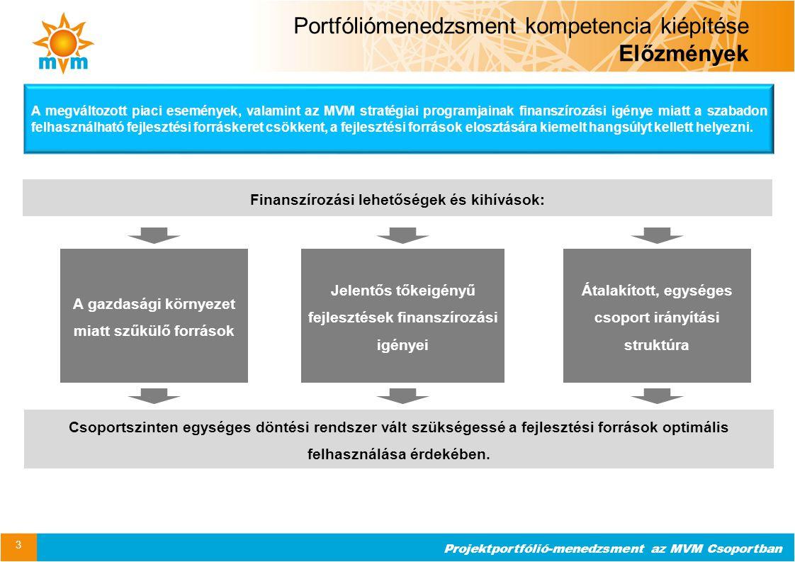 """Projektportfólió-menedzsment az MVM Csoportban 4 Kiinduló állapot Üzleti potenciál megvalósítási képesség Üzleti potenciál azonosítási képesség Projektmenedzsment Portfóliómenedzsment """"Jót és jól! """"Jó projekteket indítani! Projektmenedzsment """" Projekteket jól vezetni! Stabil gyakorlat – Nem terjedelem Portfóliómenedzsment kompetencia kiépítése Előzmények Egykapus forrásallokációs és döntési mechanizmus az indítandó beruházások kiválasztására Stratégiai hozzájárulás követhetősége Csoportszintű projekt koordináció a projektek teljes életciklusában Nyomonkövetés és beavatkozási lehetőség az MVM Zrt."""