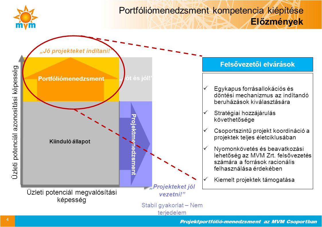 Projektportfólió-menedzsment az MVM Csoportban Portfóliómenedzsment kompetencia kiépítése Projekt szakaszai 5 Folyamat / szervezet kialakítása Támogató eszközök bevezetése Portfóliótudatosság fejlesztése Finomhangolás 2011 2012 2013 Kezde- ményezés 2014 Portfóliómenedzsment kompetencia kiépítésének kezdete Folyamati élesindulás PPM eszköz élesindulás BPO kialakítása projekt (Expertive / AAM) Módszertani támogatás Szervezet felépítése Szabályzati keretek megteremtése Integráció a Csoport működésébe MS Project 2010 (PPM) SAP PS PPM – SAP integráció Hangsúlyos változáskezelés: HÍD projekt Folyamat, működés folyamatos finomhangolása Fókuszterületek erősítése Szabályzati felülvizsgálat Körkapcsolás Az eszköz bevezetését megelőzte a folyamati / szabályzati környezet kialakítása.