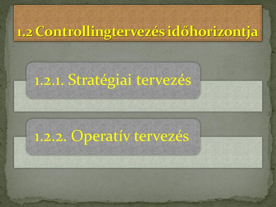 1.2.1. Stratégiai tervezés1.2.2. Operatív tervezés
