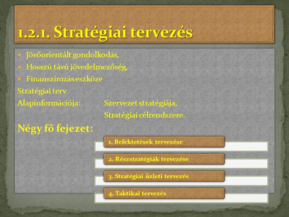 Jövőorientált gondolkodás, Hosszú távú jövedelmezőség, Finanszírozás eszköze Stratégiai terv Alapinformációja: Szervezet stratégiája, Stratégiai célre