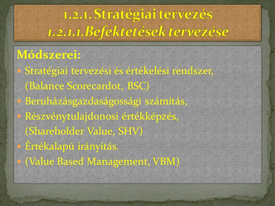 Módszerei: Stratégiai tervezési és értékelési rendszer, (Balance Scorecardot, BSC) Beruházásgazdaságossági számítás, Részvénytulajdonosi értékképzés,