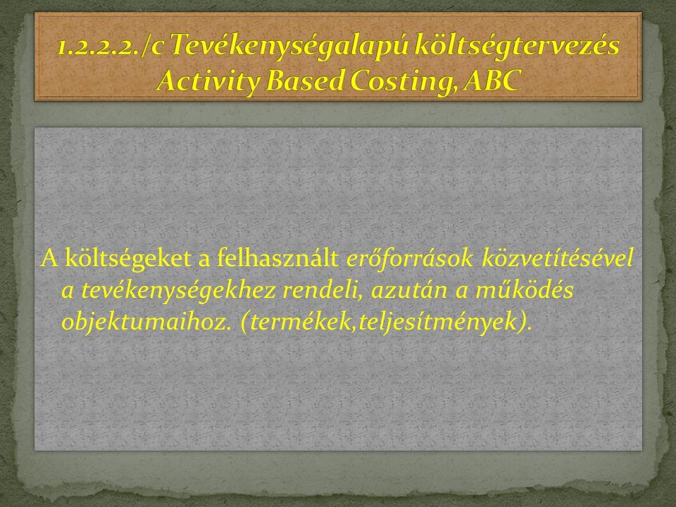 A költségeket a felhasznált erőforrások közvetítésével a tevékenységekhez rendeli, azután a működés objektumaihoz. (termékek,teljesítmények).