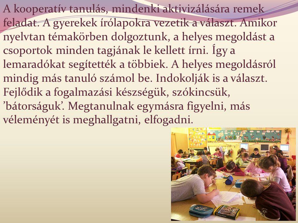 A kooperatív tanulás, mindenki aktivizálására remek feladat. A gyerekek írólapokra vezetik a választ. Amikor nyelvtan témakörben dolgoztunk, a helyes