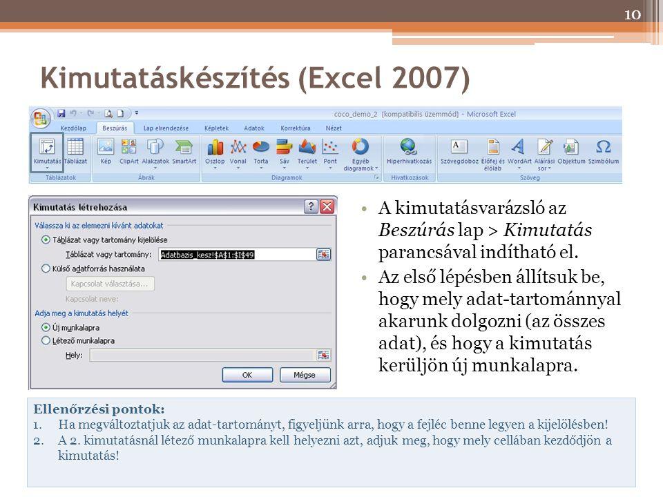 Kimutatáskészítés (Excel 2007) A kimutatásvarázsló az Beszúrás lap > Kimutatás parancsával indítható el. Az első lépésben állítsuk be, hogy mely adat-