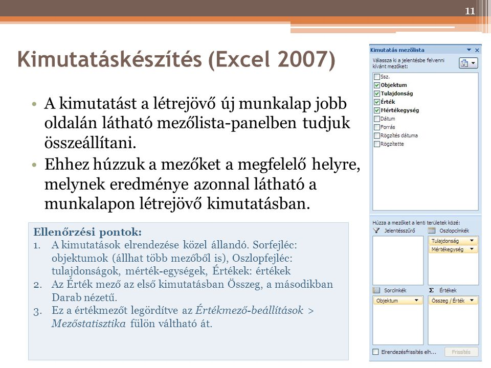 Kimutatáskészítés (Excel 2007) A kimutatást a létrejövő új munkalap jobb oldalán látható mezőlista-panelben tudjuk összeállítani. Ehhez húzzuk a mezők