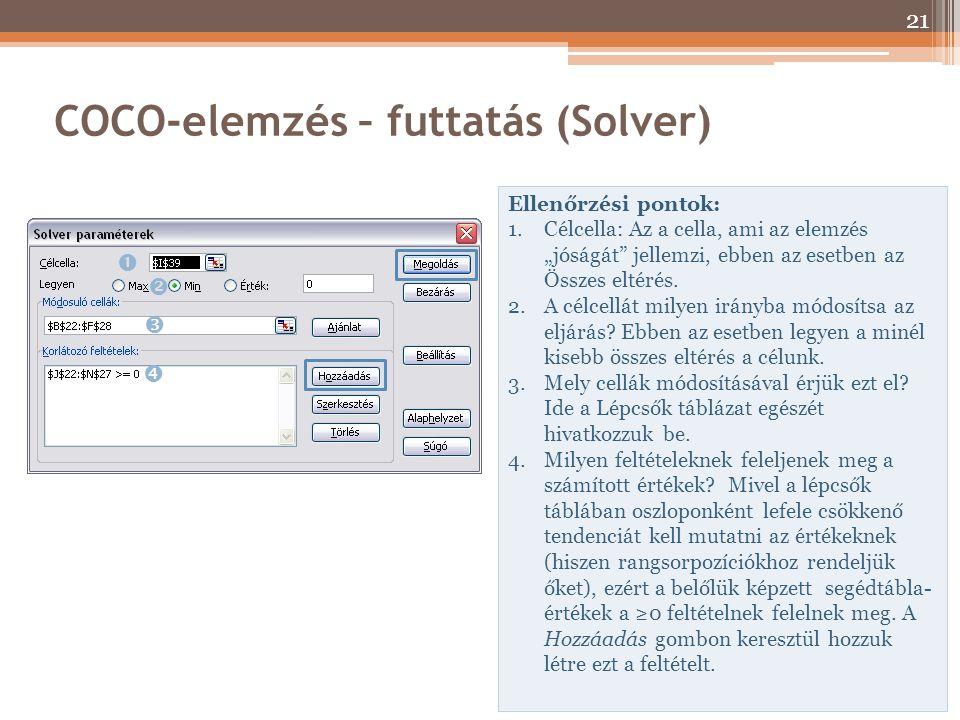 """COCO-elemzés – futtatás (Solver) Ellenőrzési pontok: 1.Célcella: Az a cella, ami az elemzés """"jóságát"""" jellemzi, ebben az esetben az Összes eltérés. 2."""