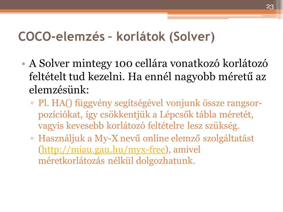 COCO-elemzés – korlátok (Solver) A Solver mintegy 100 cellára vonatkozó korlátozó feltételt tud kezelni. Ha ennél nagyobb méretű az elemzésünk: ▫Pl. H